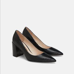 Snakeskin Patent Genuine Leather Block Heel Pumps